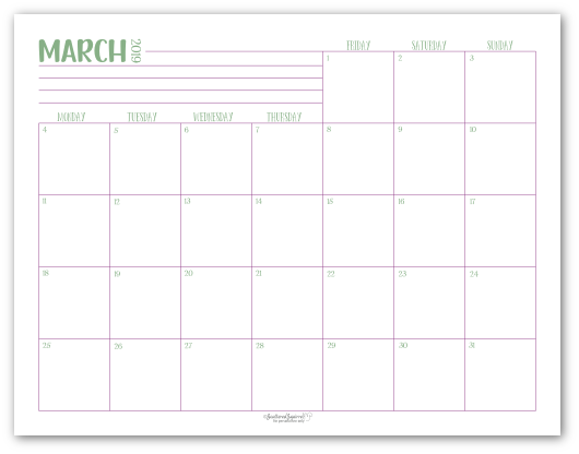 March 2019 monthly calendar in green with purple accents