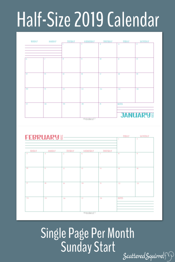 Printable Dated 2019 Monthly Calendars that are one month per page. This set is half-size and start on Sunday.