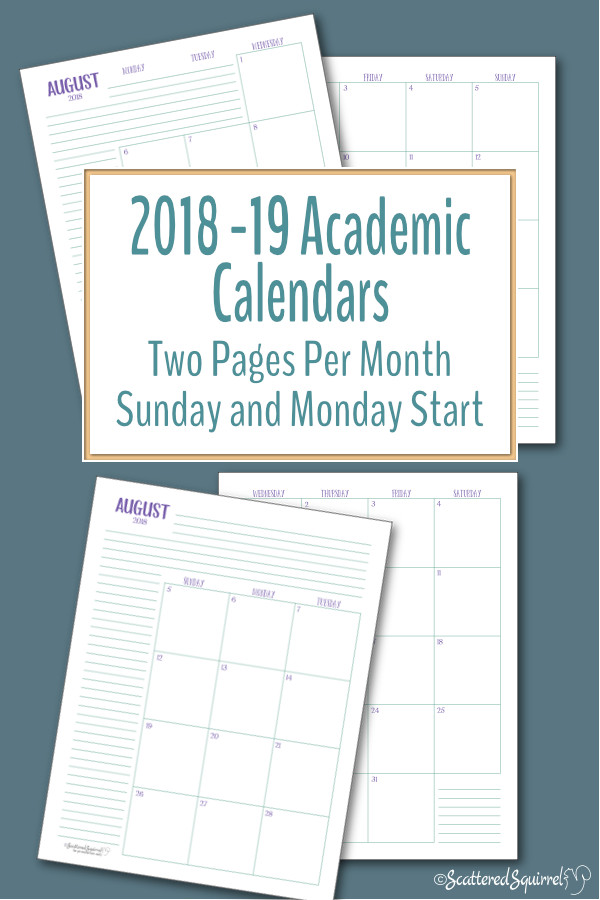 Plan your academic year with these handy 2 page per month dated academic calendars. The come in both full letter and half-size, and you can choose from a Sunday or Monday start day.