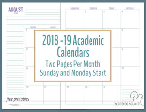 More Dated Academic Calendars