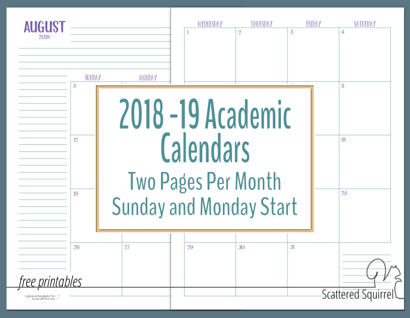 photo about School Calendar -16 Printable referred to as Excess Dated Educational Calendars - Scattered Squirrel
