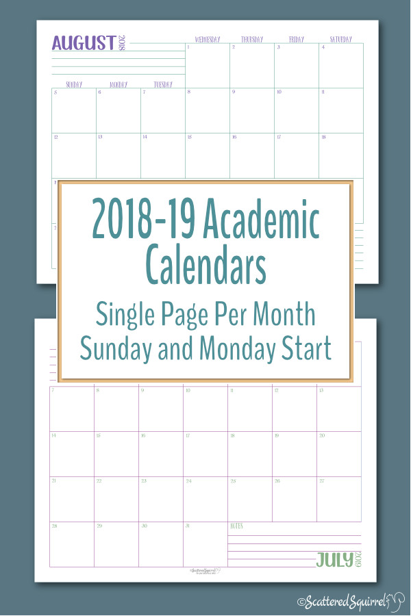These handy, single page per month, dated calendars run from August 2018 through July 2019. Great for homeschoolers, teachers, students, and anyone else who prefers an academic calendar.