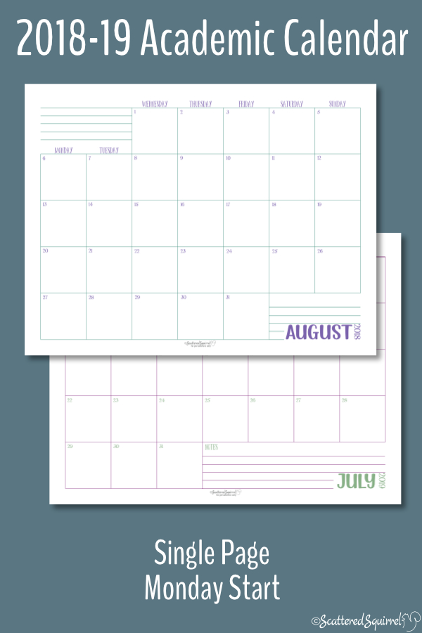 These single page per month, Academic calendars are dated from August 2018 through July 2019 and feature a Monday start day.