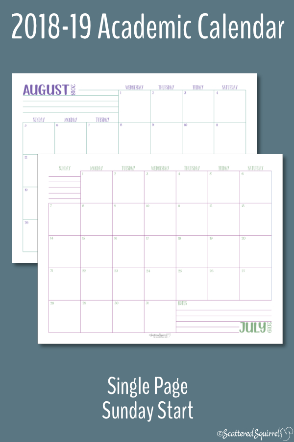 These single page per month, Academic calendars are dated from August 2018 through July 2019 and feature a Sunday start day.