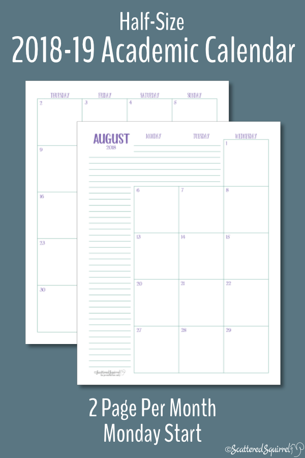 Half-Size Dated Academic Calendars with a Monday Start
