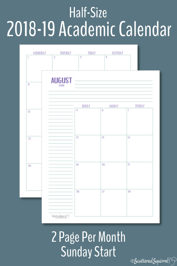 Half-Size Dated Academic Calendars with a Sunday Start