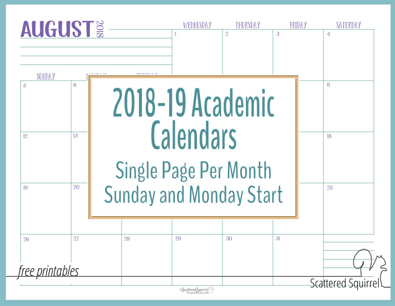 Stay on track during the 2018-2019 Academic year with these handy single page per month dated calendars.