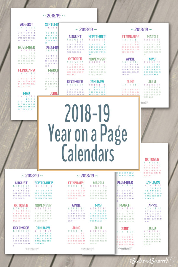 The Academic Year on a Page calendars cover the 2018-2019 school year. These free printables come in both full and half size with your choice of a Sunday or Monday start day.