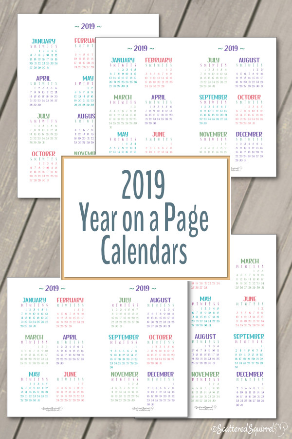 These 2019 Year on a Page Calendar printables come in both full and half size with your choice of a Sunday or Monday start day.