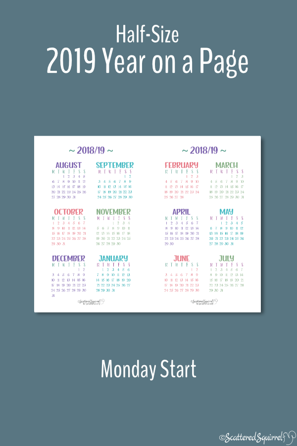 Half-Size 2018 - 2019 Academic Year on a Page Calendar printable with a Monday start day.