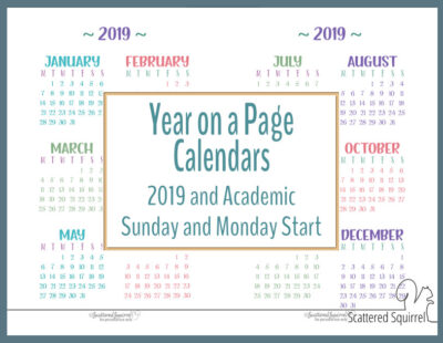 Academic and 2019 Year on a Page Calendar printables
