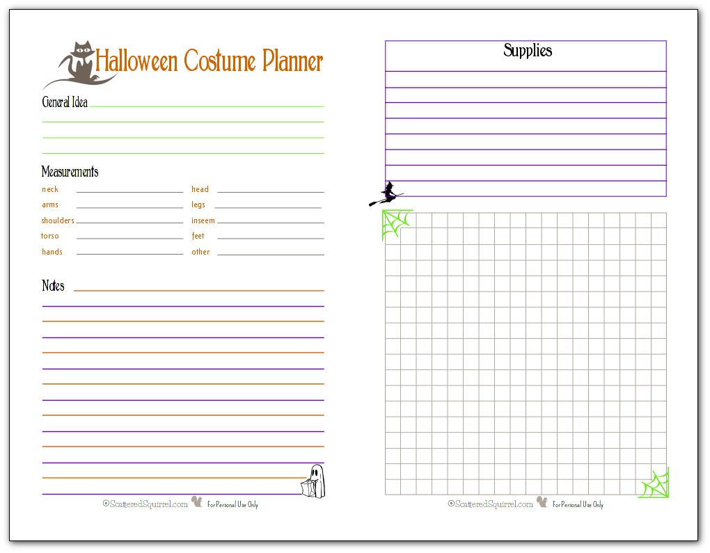 This half-size Halloween Costume planner will fit most A5 planners, making it great to take with you on the go. Keep track of measurements, ideas, and supplies. There's even room for costume making notes and a place to sketch out your costume ideas.