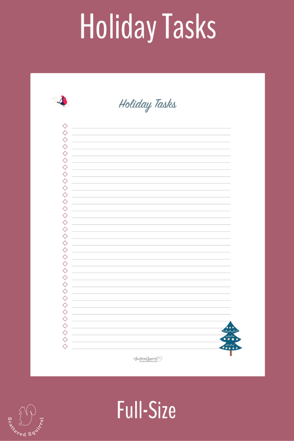 Holiday Task list