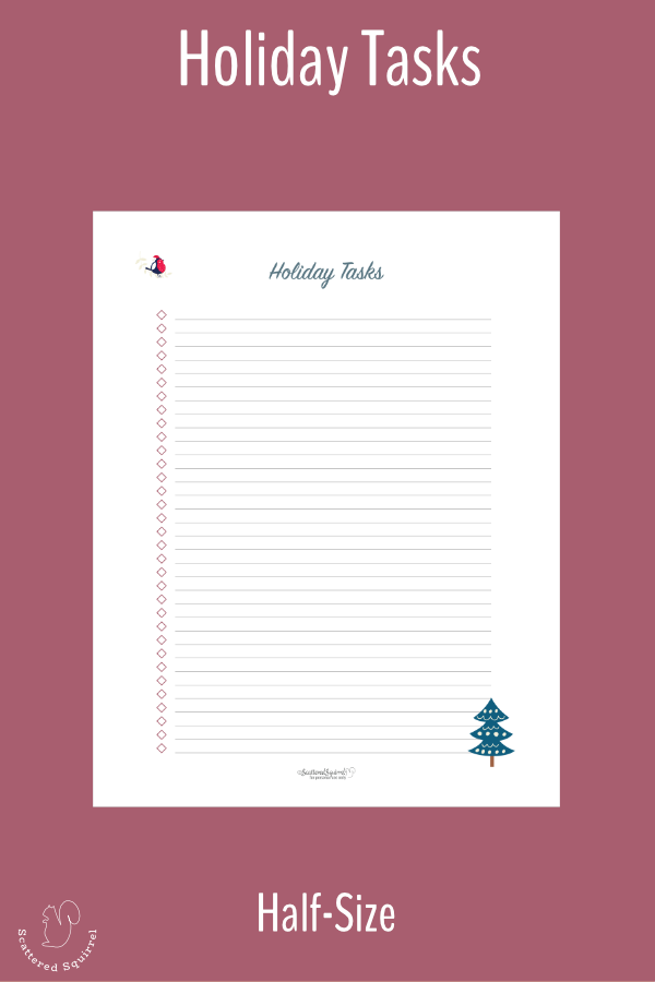 Half-Size Holiday Task List