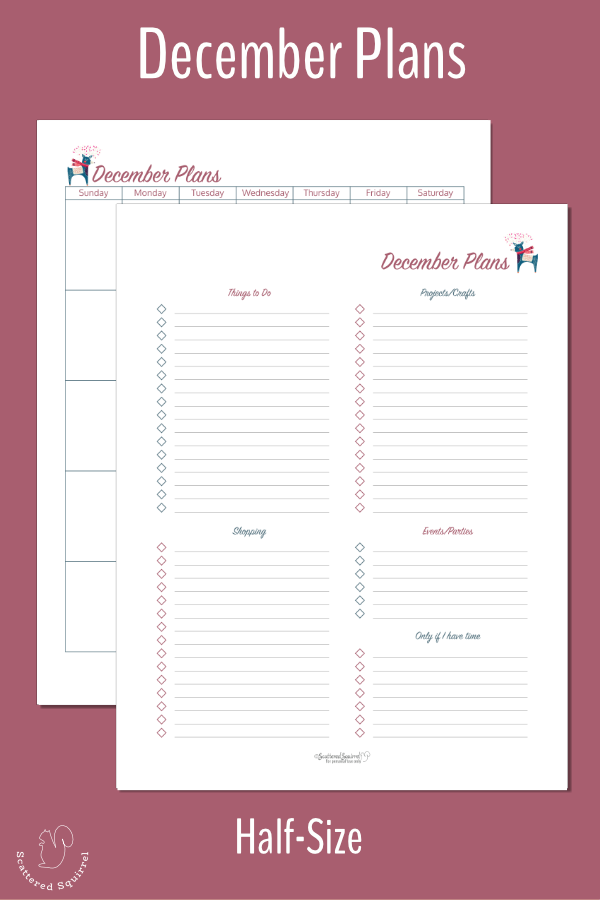 Keep all your holiday plans for December in one place with these half-size December Planning pages.