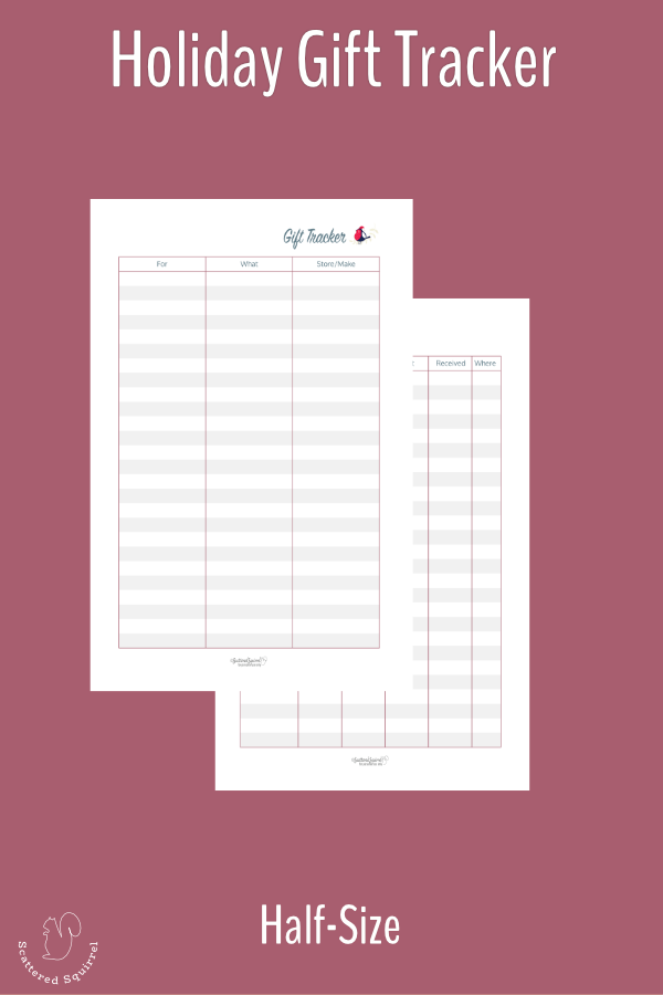 Keep track of gifts this year with this handy half-size two page gift tracker printable.