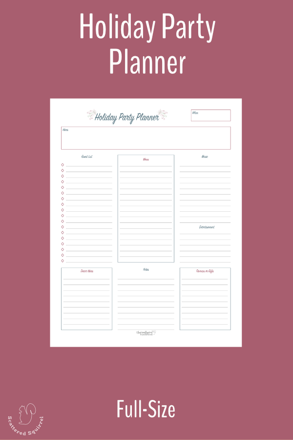 Plan your holiday party with this full size holiday planner printable.