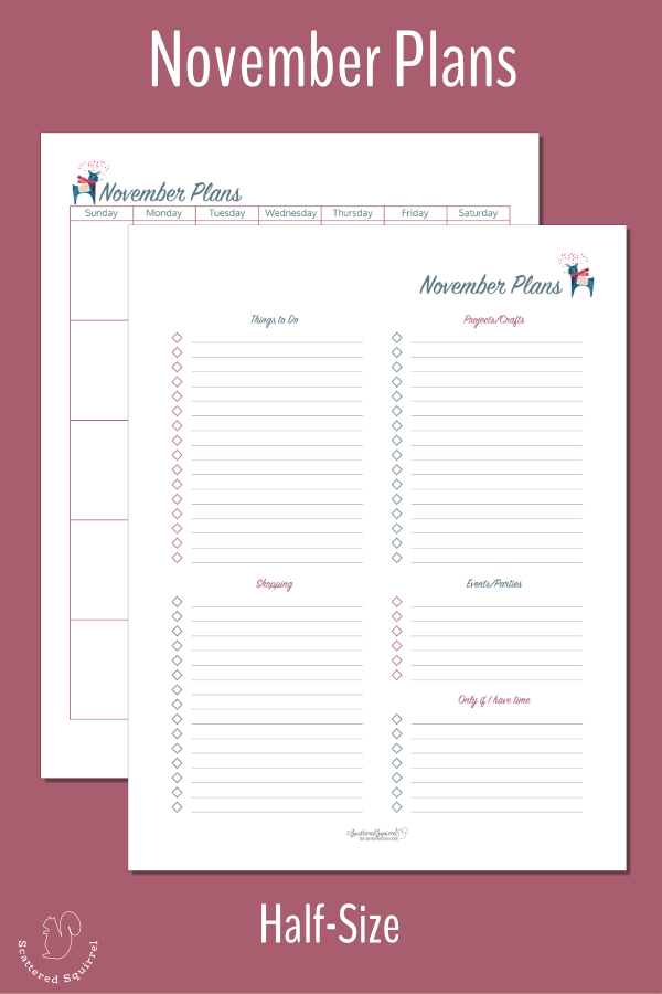 Keep all your holiday plans for November in one place with these half-size November Planning pages.