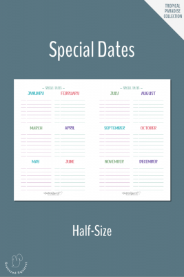 Keep track of those special dates with this half-size special dates printable.