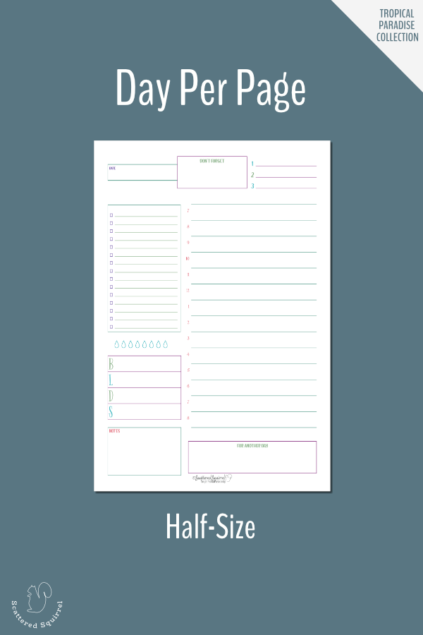 Plan your day in detail with this half-size, day per page daily planner printable.