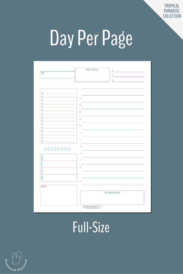Plan your day in detail with this day per page daily planner printable.