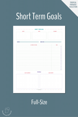 These half-size (half letter) short term goals worksheet, gives you a place to plan your short term goals. Pair these with your long term goals so that you can break those bigger goals down into manageable chunks.