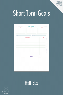 This half-size (half letter) short term goals worksheet, gives you a place to plan your short term goals. Pair these with your long term goals so that you can break those bigger goals down into manageable chunks.
