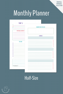 Use this two page, half-size monthly planner to plan your month and goals ahead of time.