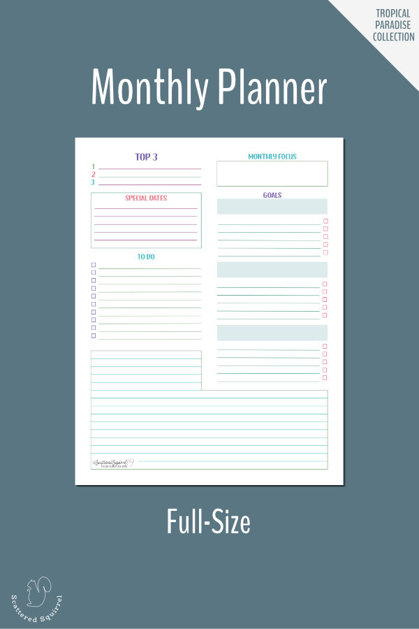 Use this full size monthly planner to plan your month and goals ahead of time.