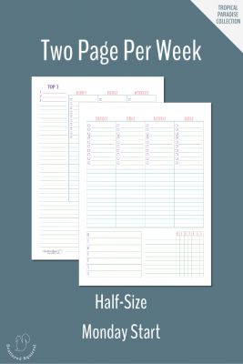 Plan your week in detail with this two page per week planner printable. This one is half-size and features a Monday start.
