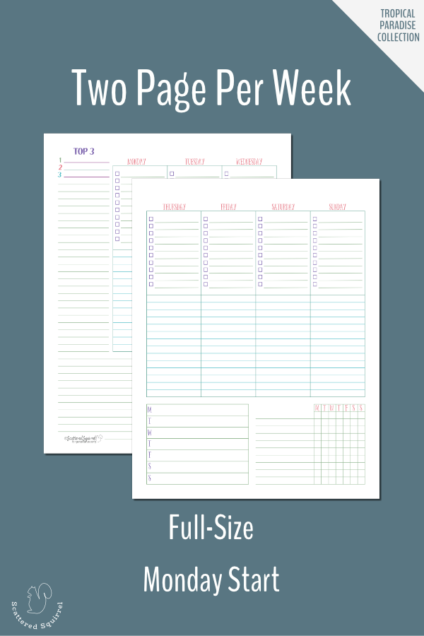 Plan your week in detail with this two page per week planner printable. This one is full-size and features a Monday start.