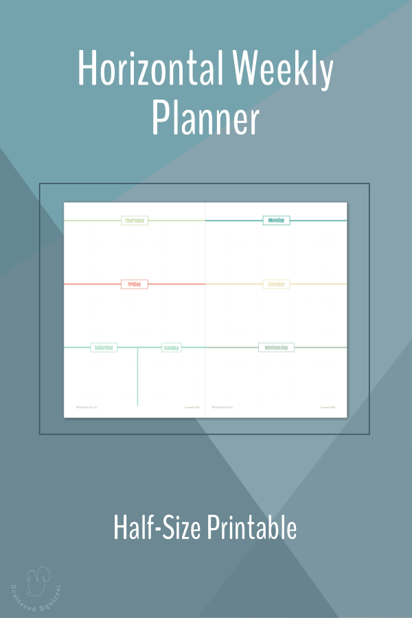 This printable weekly planner is a horizonital layout featuring a week on two pages in half letter size.