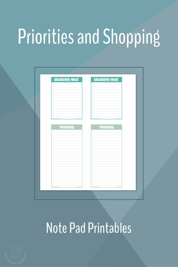 Use these mini printable must do and shopping lists to create a list pad, or punch and add them to your planner as needed.