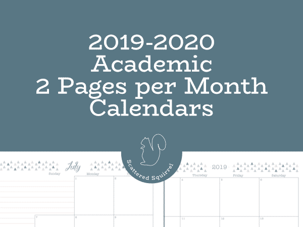 Fit Academic Calendar 2020 2019 2020 Academic Two Pages per Month Calendars!   Scattered Squirrel
