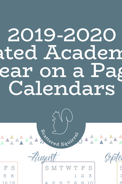 The 2019-2020 Dated Academic Calendar - Year on a Page is a great starting point for your planner for next school year.
