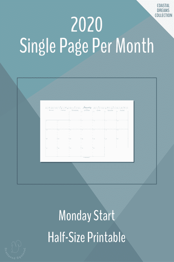 Dated 2020 calendars, single page per month, half-size with a Monday start day.