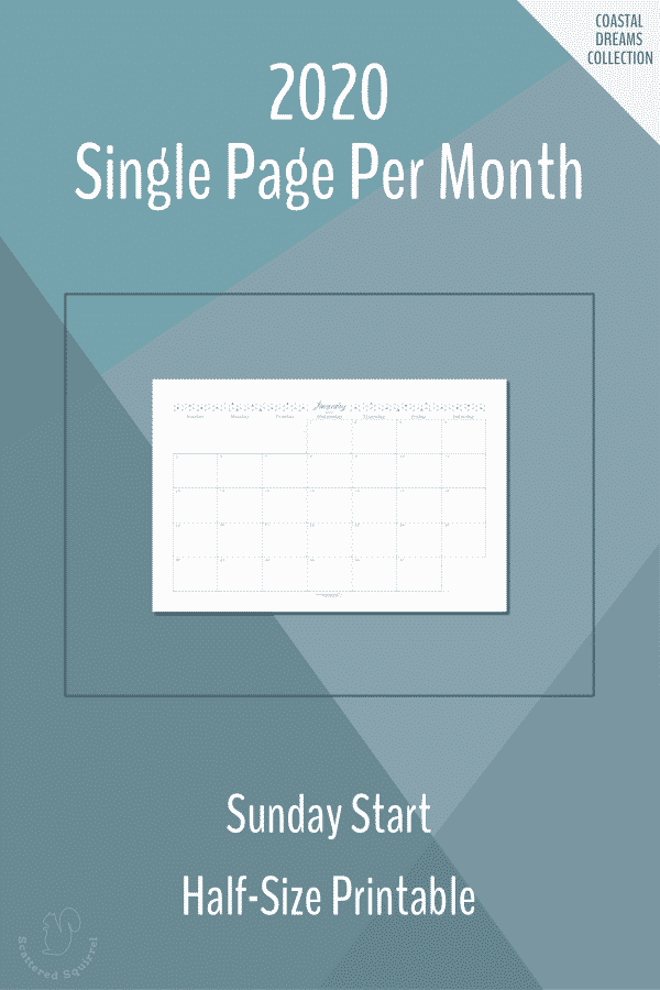 Single page per month dated 2020 calendars in half-size with a Sunday start.