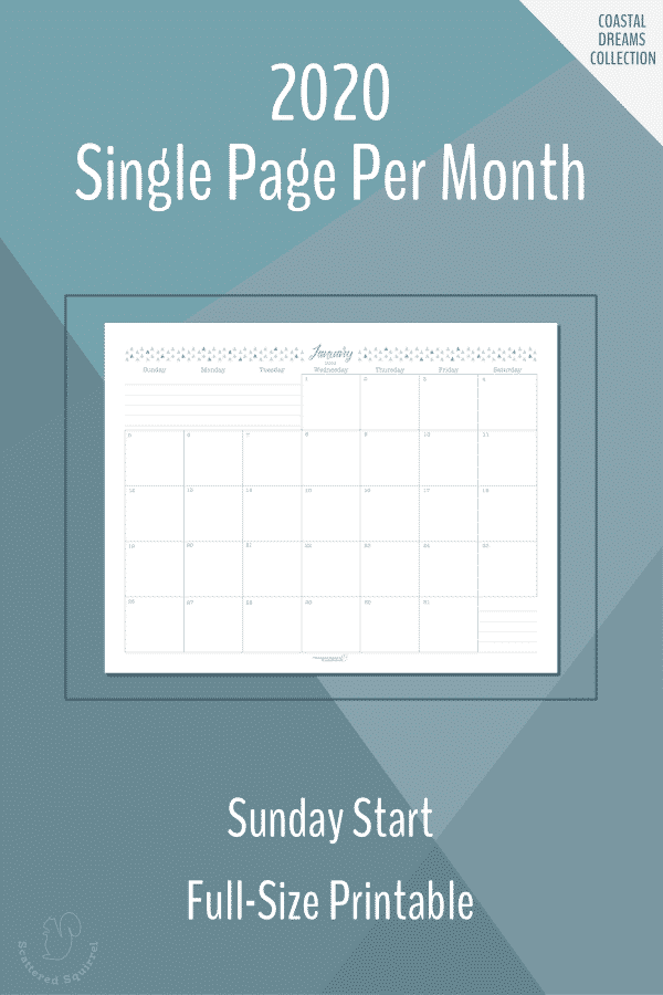 Single page per month dated 2020 calendars in full size with a Sunday start.