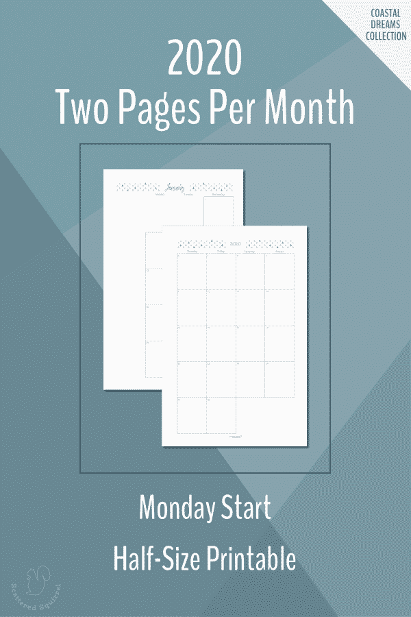 Two Pages per Month, Half-Size, Monday start, dated 2020 calendars.