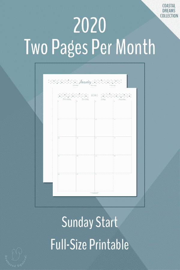 Free Printable Two Pages per Month, Full Size, Sunday start, dated 2020 calendars.