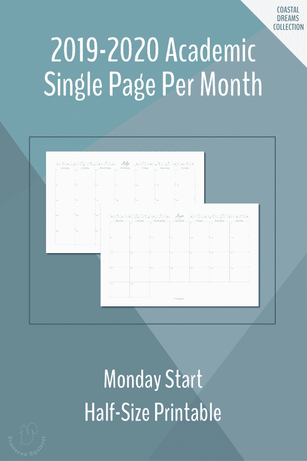 Dated, half-size, single page per month, monthly calendars for the 2019-2020 Academic year featuring a Monday start.