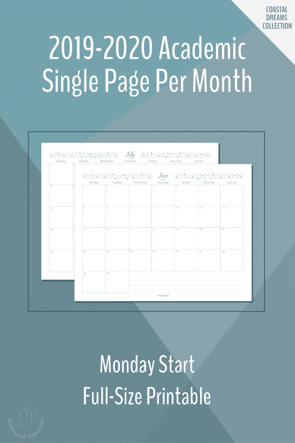 Dated, full-size, single page per month, monthly calendars for the 2019-2020 Academic year featuring a Monday start.