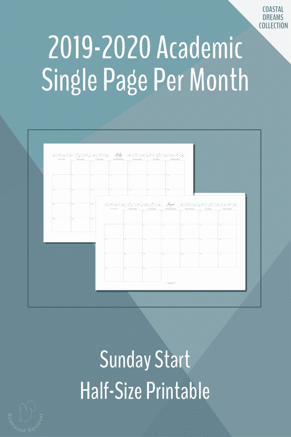 Dated, half-size, single page per month, monthly calendars for the 2019-2020 Academic year featuring a Sunday start.