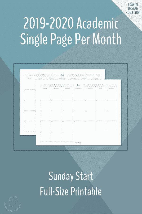 Dated, full-size, single page per month, monthly calendars for the 2019-2020 Academic year featuring a Sunday start.