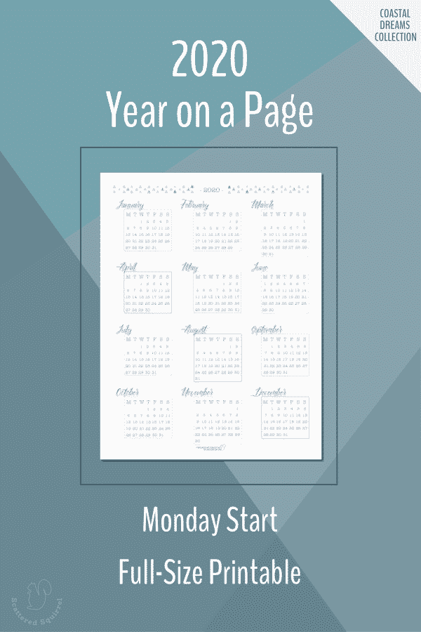 Printable, full size, Monday start, year on a page, dated 2020 calendars.