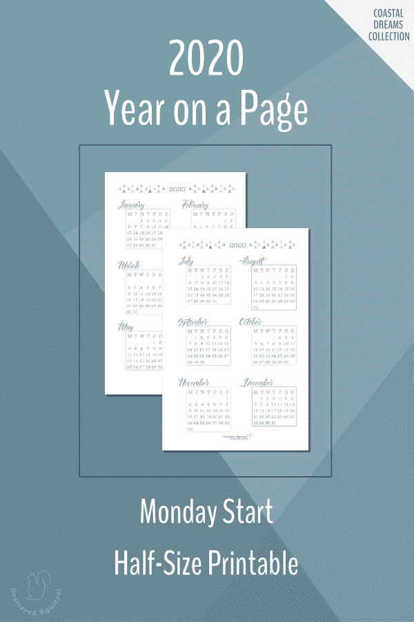 Printable, half-size, Monday start, year on a page, dated 2020 calendars.