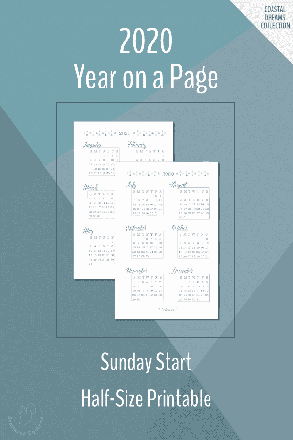 Half-size, Sunday start, year on a page, dated 2020 calendars.