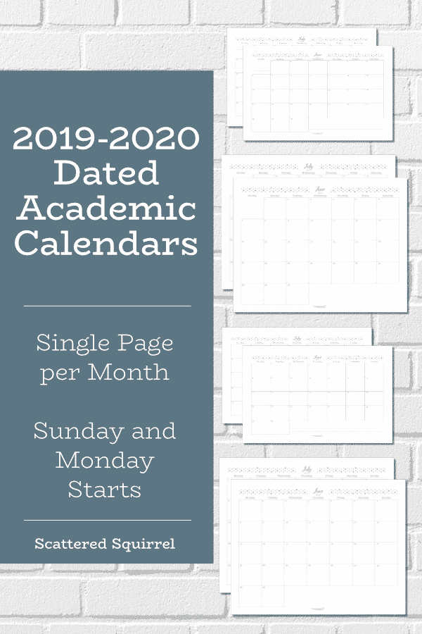 Single page per month dated calendars for the 2019-2020 academic year. Choose from full or half-size and a Sunday or Monday start.