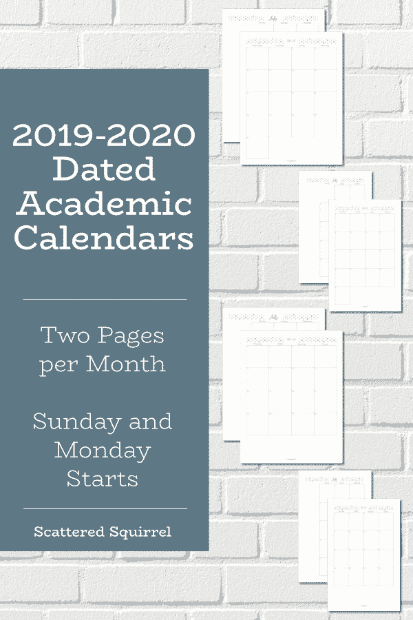 Plan your academic year with the 2019-2020 Academic Two Pages per Month calendars. These off tons of room for planning and note taking.