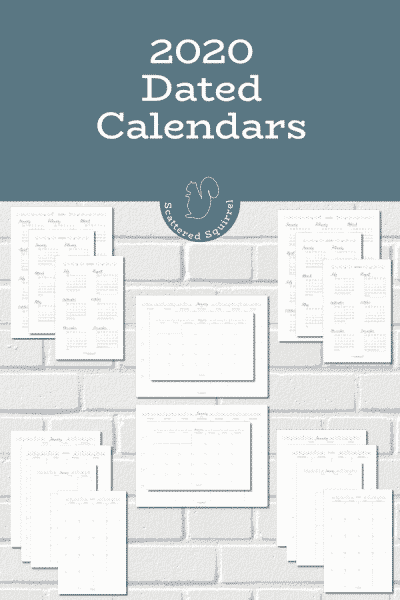 This collection of dated 2020 calendars feature a year on a page, month on a page, and month on two pages. They come in two sizes and you have your choice of a Sunday or Monday start.